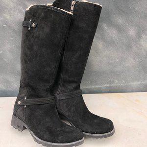 UGG Jillian Boot - Black Suede with Faux Shearling